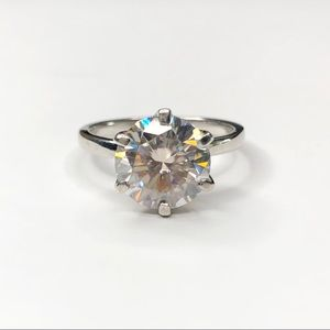 3Ct Moissanite Ring 14K Gold Plated Size 6